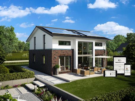 ... Moderne Häuser | Haus Hamburg (Klinkerfassade), Gartenansicht,  Photovoltaik Und App ...